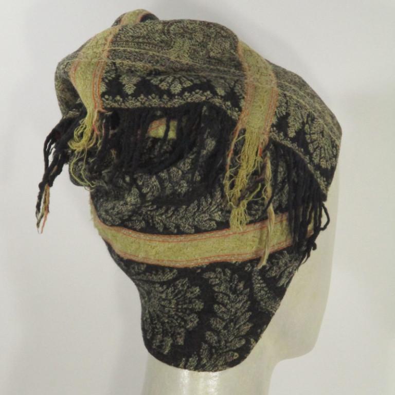 Kopfbedeckung - Kaschmirtoque - historisches Gewebe