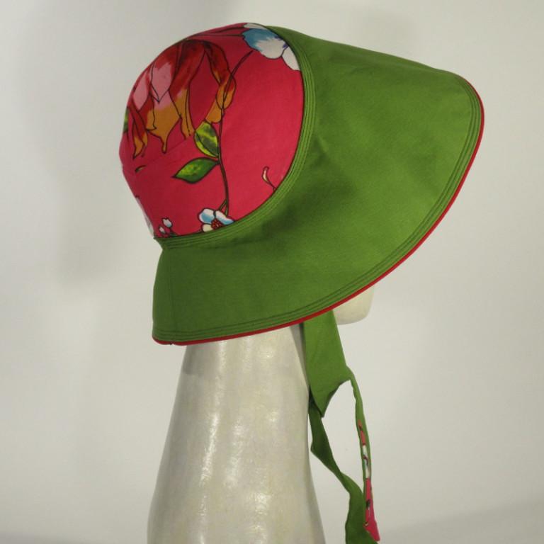 Kopfbedeckung - schicker Sonnenhut (seitlich) - pink grün