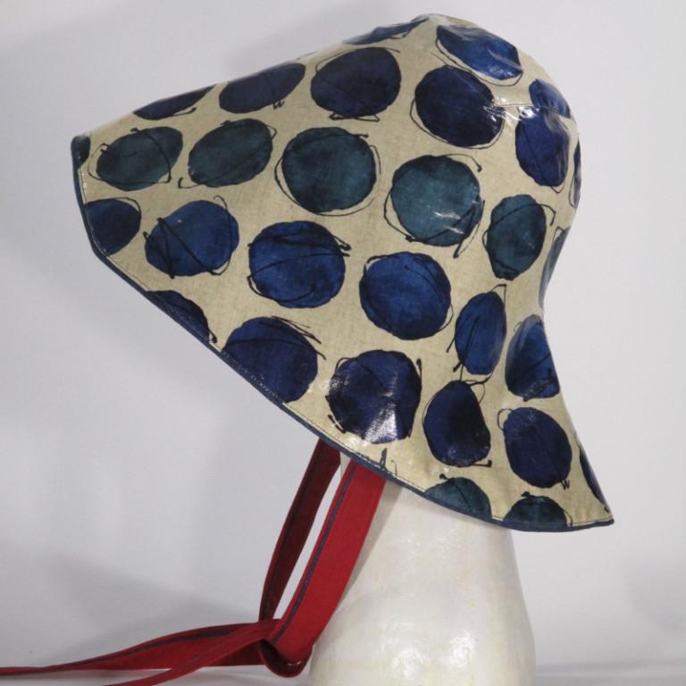 Kopfbedeckung - Regenhut Südwester - blaugrüne Punkte