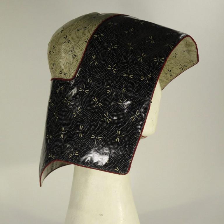 Kopfbedeckung - Regenhut Glocke - Libellen (seitlich)