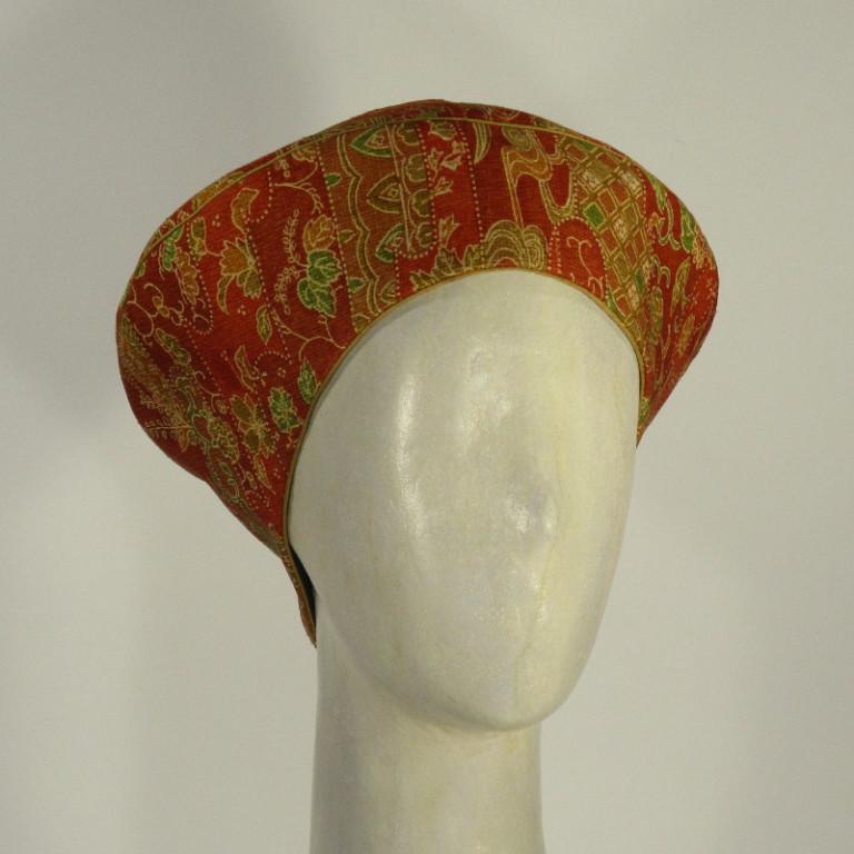 Kopfbedeckung - elegante Kappe - Kimonostoff orange