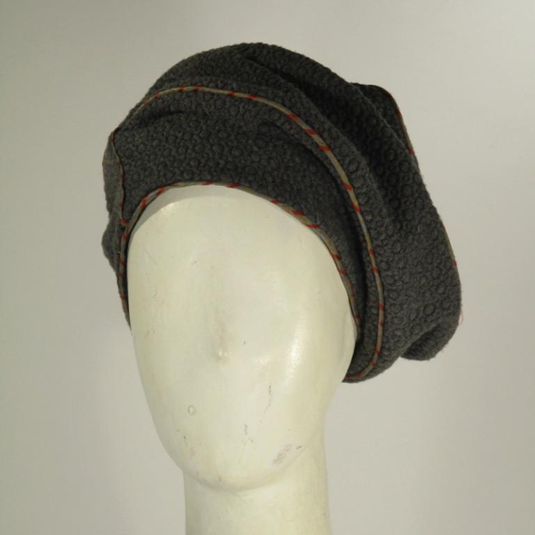 Kopfbedeckung - Barett - grau mit Paspel