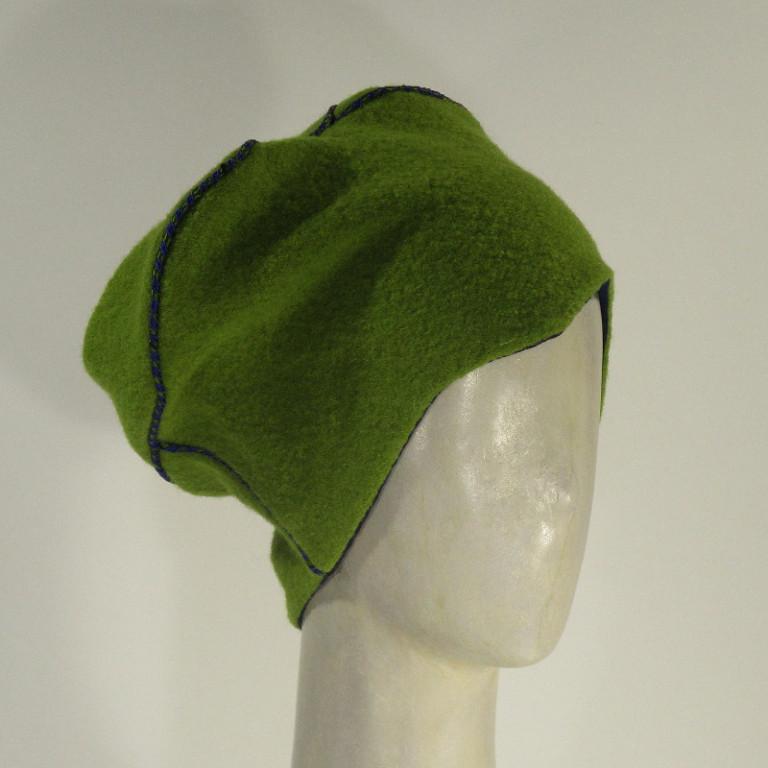 Kopfbedeckung - warm Wollboucle Toque - froschgrün