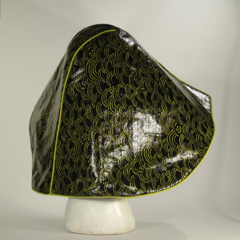 Kopfbedeckung - Regenhut - gelbe Wellen