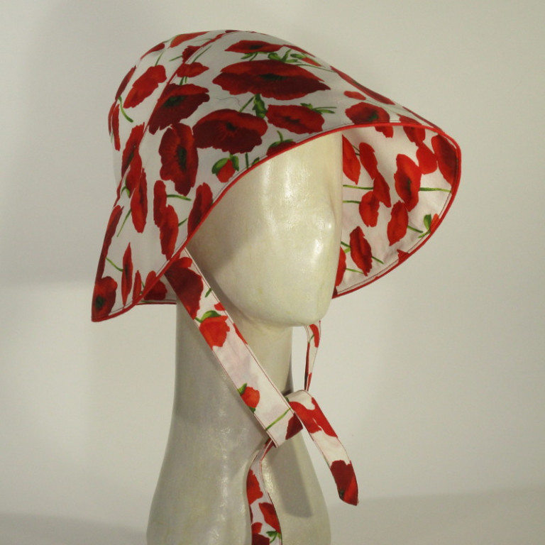 Kopfbedeckung - Sonnenhut - Blüten Mohn