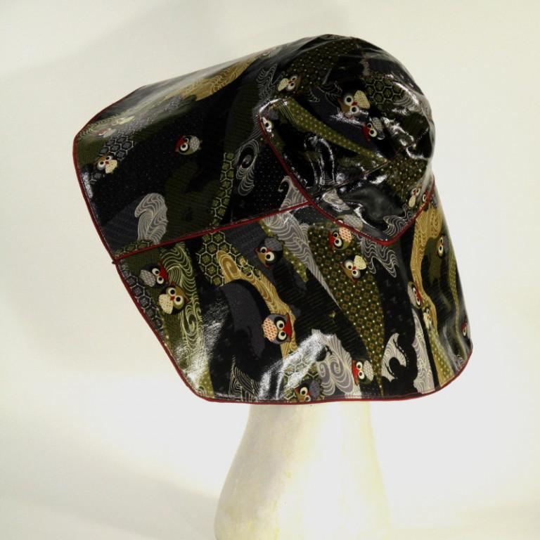 Kopfbedeckung - Regenhut - Eulen dunkel