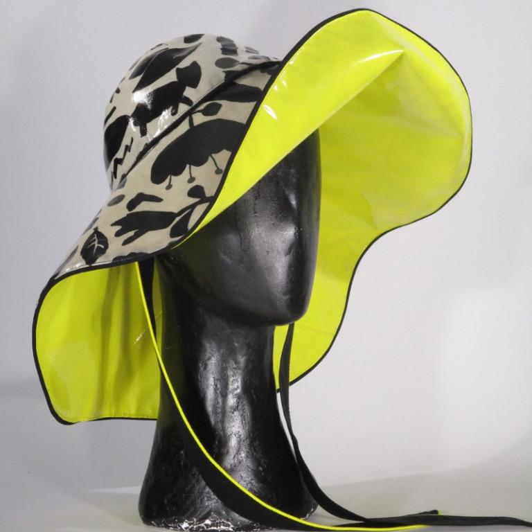 Kopfbedeckung - Regenhut Großform- schwarz weiß gelb