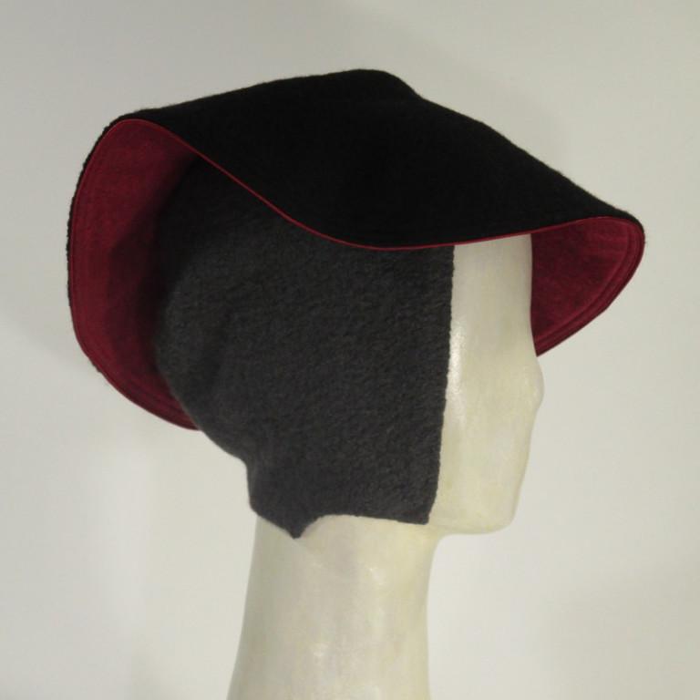 Kopfbedeckung - warm elegant Wollboucle - grau schwarz rot