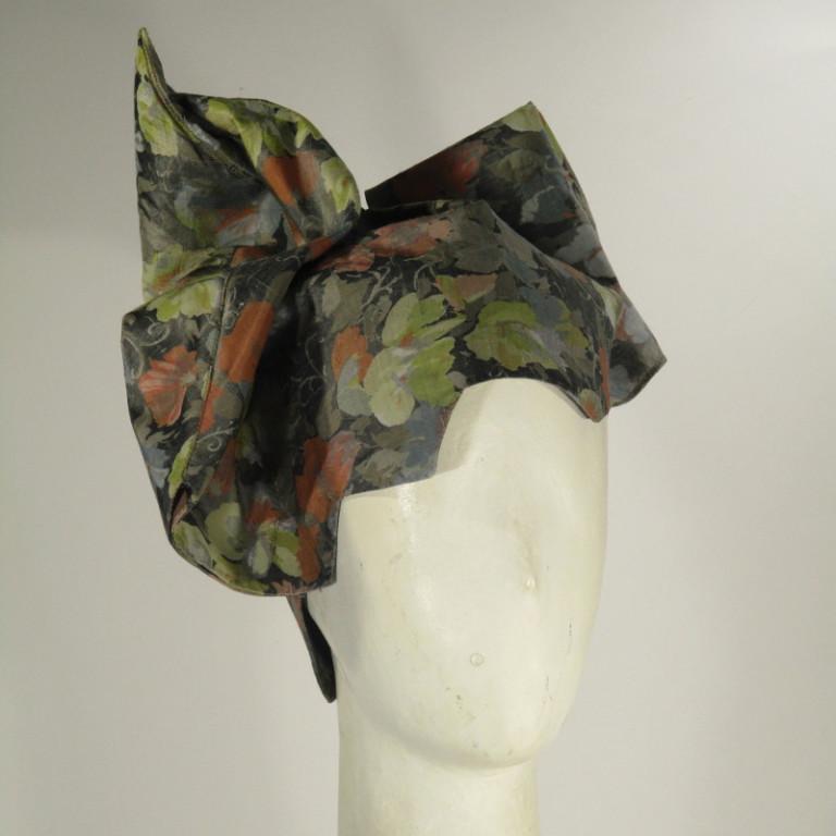 Kopfbedeckung - eleganter Toque - 50er Jahre reine Seide