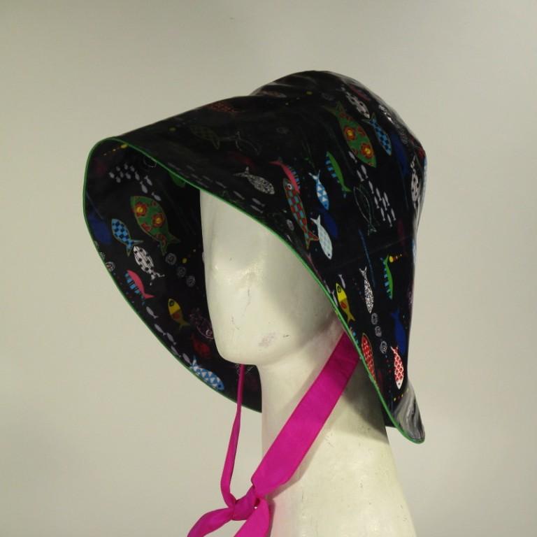 Kopfbedeckung - Regenhut - Fische dunkel