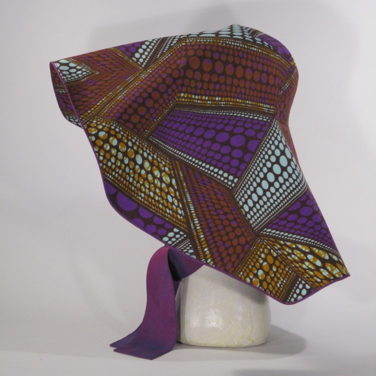Kopfbedeckung - eleganter Sonnenhut (seitlich) - Muster bunt