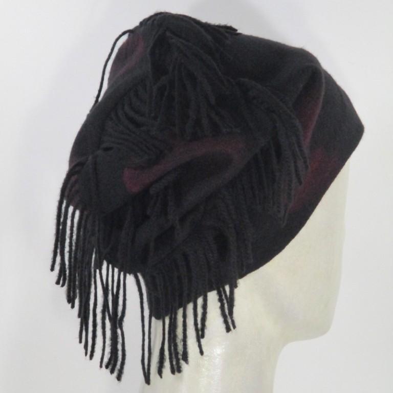 Kopfbedeckung - warm Kaschmirgemisch - schwarz rot
