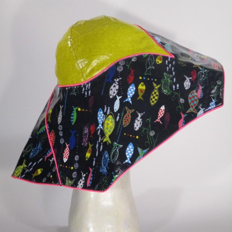 Kopfbedeckung - Regenhut Glocke - Fische