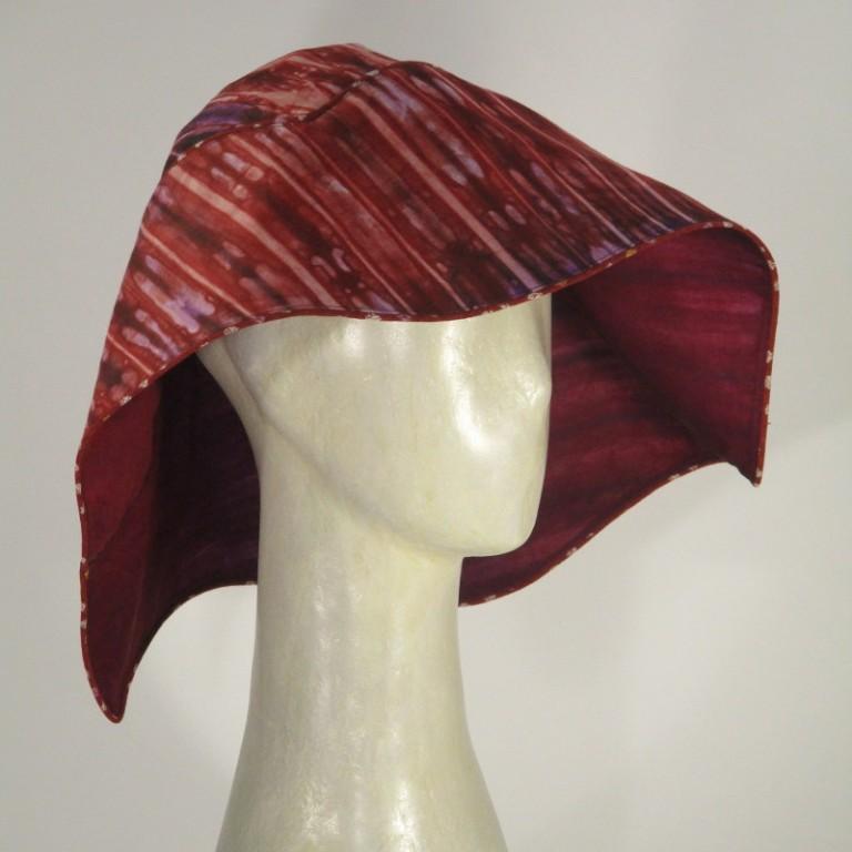 Kopfbedeckung - eleganter Sonnenhut - Muster rot