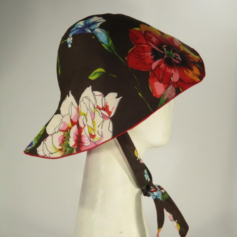 Kopfbedeckung - Sonnenhut - Blumen schwarz