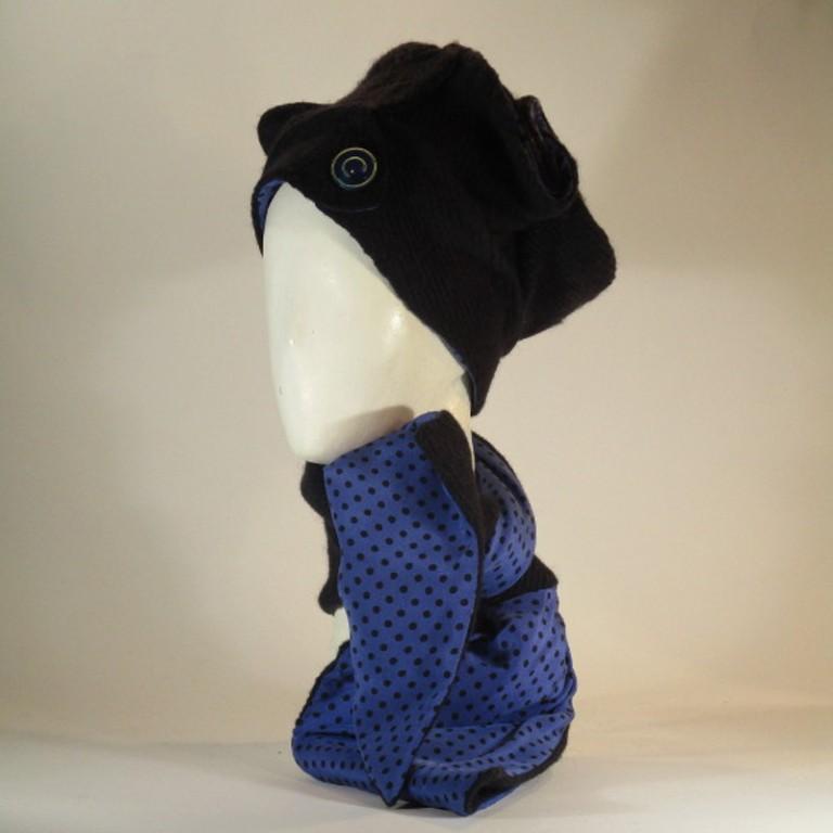 Kopfbedeckung - Cloche mit Schal - mittelblau