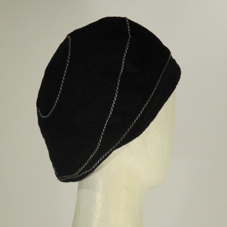 Kopfbedeckung - Borken Samtbarett mit Papsel