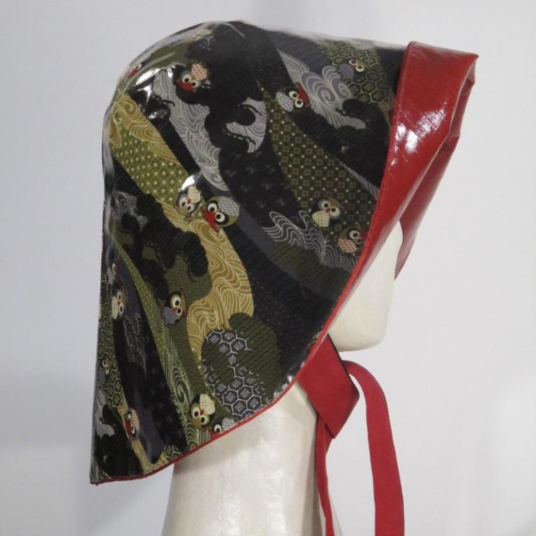 Kopfbedeckung - Regenhut (seitlich) - Eulen dunkel
