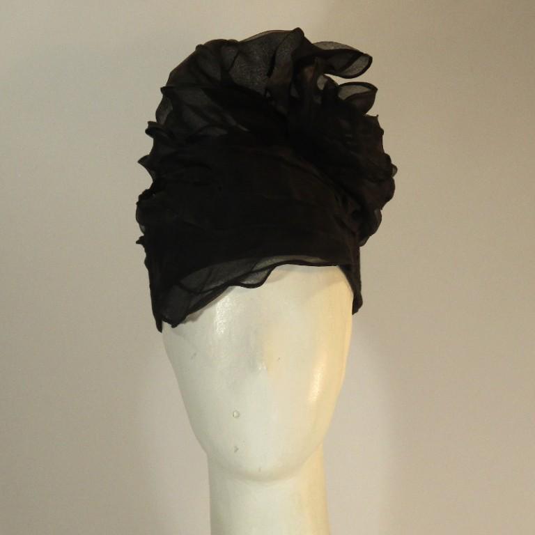Kopfbedeckung - Cocktailturban - Seide Cloque organza