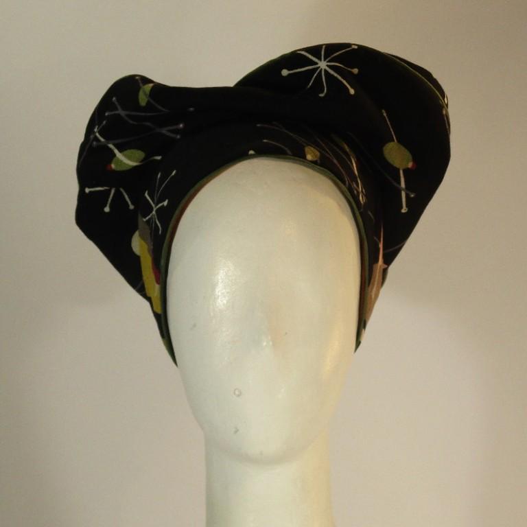 Kopfbedeckung - Barett - dunkelgemustert